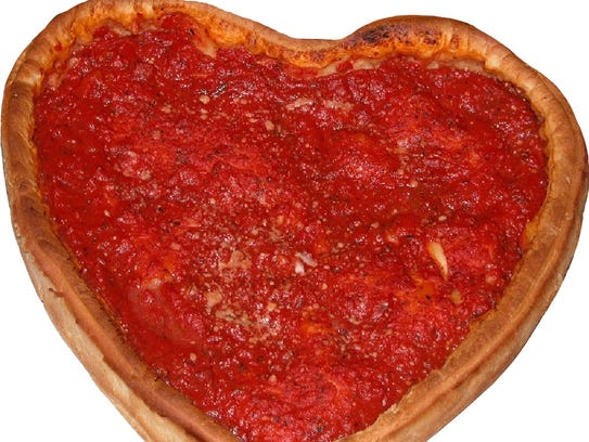 Giordano's Pizza has heart-shaped pizzas that will