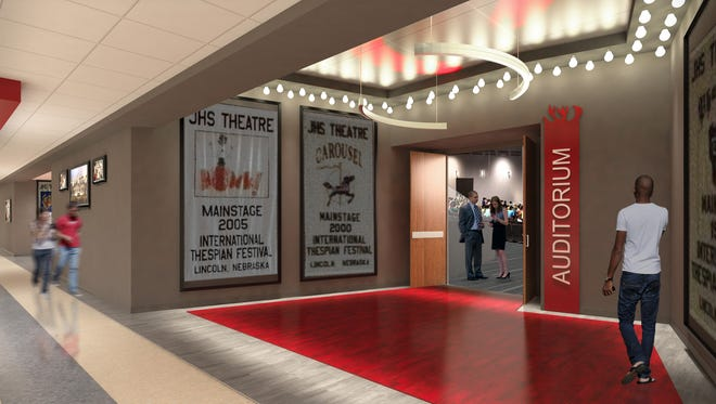 Plans for an overhaul of Jeffersonville High's auditorium include a new entrance where the school can display accolades earned by the theater department.