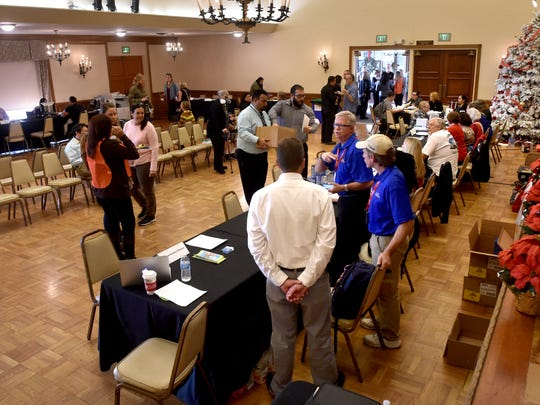 Several local and state agencies offered assistance to Thomas Fire victims Wednesday at the Poinsettia Pavilion in Ventura.