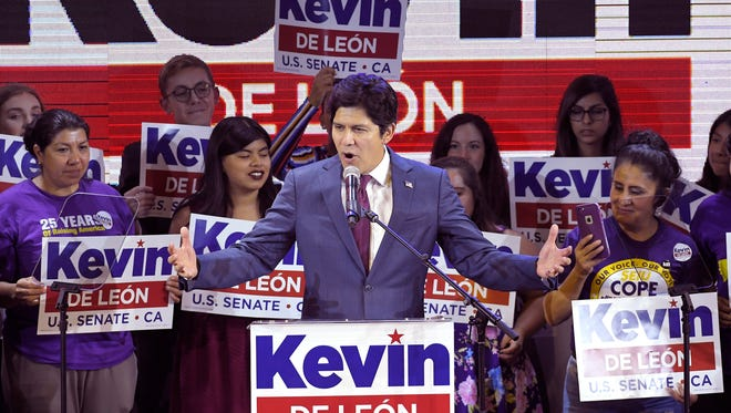 Kevin de Leon, California state Senate president pro tem and Democratic candidate for the U.S. Senate, speaks during an election party Tuesday in Los Angeles.