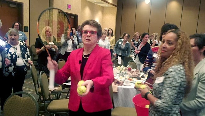 Tennis great Billie Jean King lobbed almost 100 autographed tennis balls into the audience after her talk at last week's CABLE meeting at the Embassy Suites at Cool Springs.