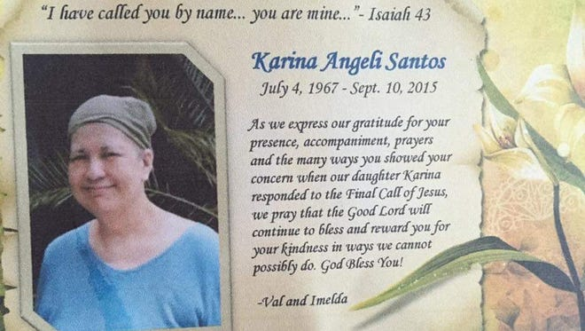 A card from Chotda's memorial service, held Oct. 13 at San Vitores Church in Tumon.