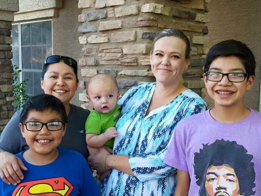 The Ortega family (from left): Logan, Lori, Gabriel,