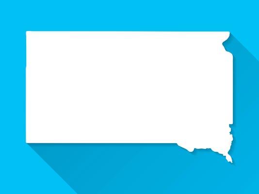 South Dakota Map on Blue Background, Long Shadow, Flat Design