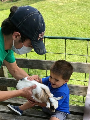 Domenic Bucciaglia meets Shirley the goat as Dylan McCarthy of Davis Farmland introduces the two.