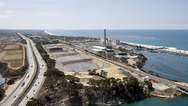The Carlsbad desalination plant, seen in a Friday, Sept. 4, 2015 photo, borders Interstate 5 on one side and the Pacific Ocean on the other in Carlsbad.
