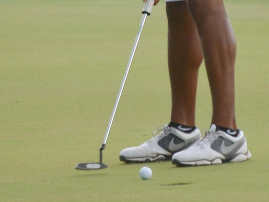 ANI City Amateur golf championship. Chuck Spears putts on the 18th hole in the championship flight finals of the City Amateur golf championship held Sunday, Aug. 17, 2014 at Links on the Bayou.-Melinda Martinez/mmartinez@thetowntalk.com
