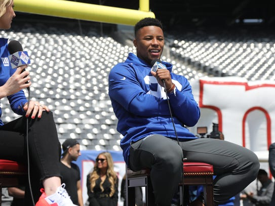 Saquon Barkley being interviewed during the Draft Party.