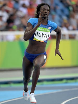 Tori Bowie (USA) in the women's 200m athletics event at Estadio Olimpico Joao Havelange during the Rio 2016 Summer Olympic Games.