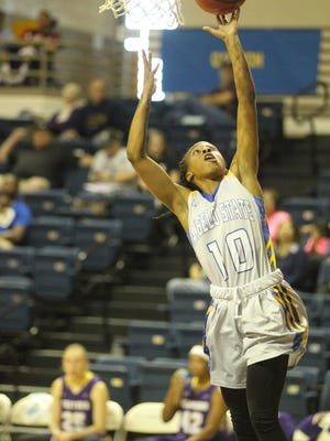 Angelo State University's Marquita Daniels makes a layup against Western New Mexico in a Lone Star Conference basketball game at the Junell Center on Feb. 24, 2018.