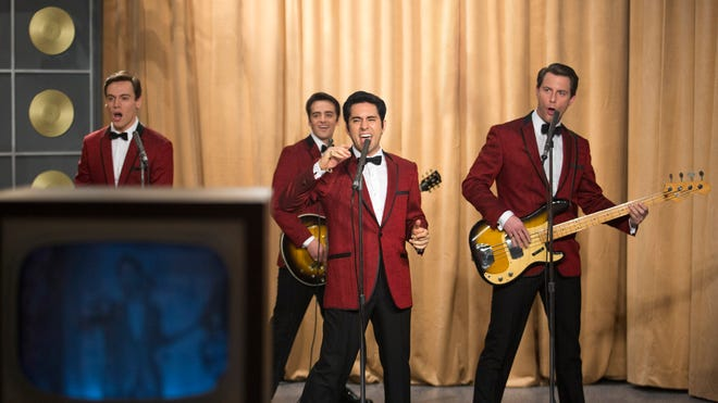 "Erich Bergen as Bob Gaudio, Vincent Piazza as Tommy DeVito, John Lloyd Young as Frankie Valli and Michael Lomenda as Nick Massi in Warner Bros. Pictures' musical ""Jersey Boys."""