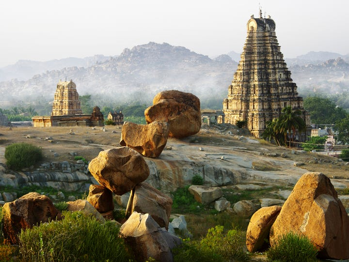 The group of monuments at Hampi in India consist of ruins of several beautiful Dravidian temples and palaces - the last remnants of the Vijayanagar kingdom.