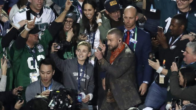 Justin Timberlake performs during halftime of the NFL Super Bowl 52 football game Sunday, Feb. 4, 2018, in Minneapolis.