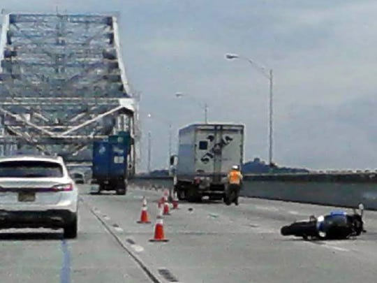 The scene on the Tappan Zee Bridge after motorcyclist Jose Capo, 38, of Nyack was killed, Aug. 31, 2016.