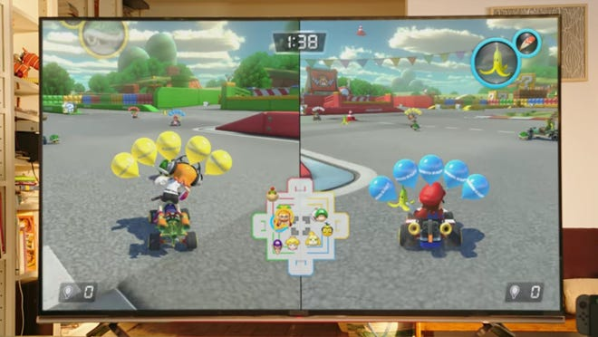 A clip of the new Mario Kart game. Nintendo just released its Super Bowl LI commercial for the Nintendo Switch