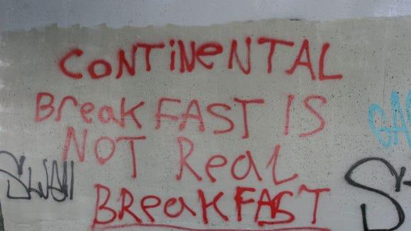 Continental breakfast graffiti