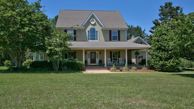 This is a front view of home for sale at 3208 Talon Court in Hawks Landing.
