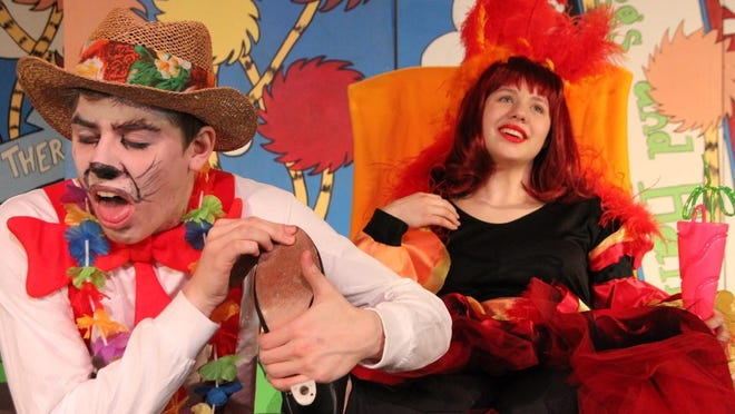 """The Cat (Jeremiah Speten) gives attention to the egotistical Mayzie (Lindsay Payne) during Skit's performance of """"Seussical The Musical,"""" which is running 7 p.m. April 27-28, May 4-6 and 2 p.m. April 29 at Salem First Free Methodist Church."""