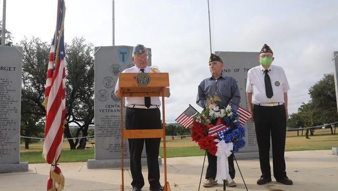From left, Harold Stieber (American Legion Post 196), Al   Barrera (Veterans of Foreign Wars Post 3278) and James Waller (American Legion Post 196) are pictured at the V-J Day commemoration.