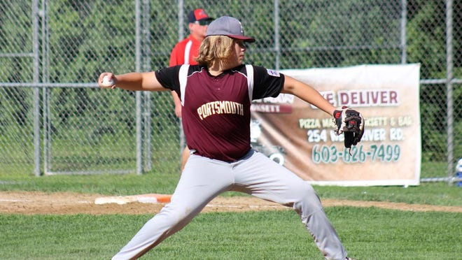 Portsmouth's Zavier Lampert delivers a pitch during District 2 Little League tournament action Saturday in Hooksett.