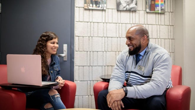 Bristol Community College's Rob Delaleu, right, director of the Multicultural Student Center, says this summer has been one of the busiest of his career, with all the unrest in America in the wake of George Floyd's death.