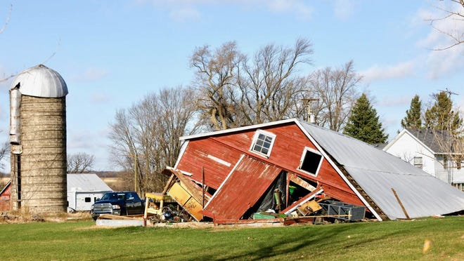 A barn at 10415 Randall Road in Capron collapsed after a storm moved through the area on Tuesday, Nov. 10, 2020.