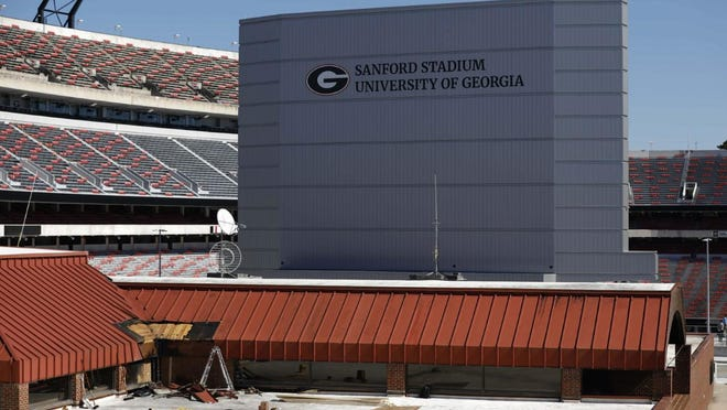 A fire damaged the roof of the University of Georgia's Tate Student Center on Friday night after UGA commencement ceremonies in nearby Sanford Stadium.