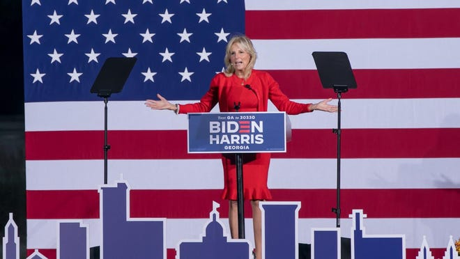 Jill Biden gestures to the crowd that gathered at Monday's rally on the Savannah State University campus.