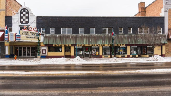 The outside of the Soo Theatre building, which is almost 100 years old. The theater was constructed in 1930 and has undergone many changes and alterations over the years.