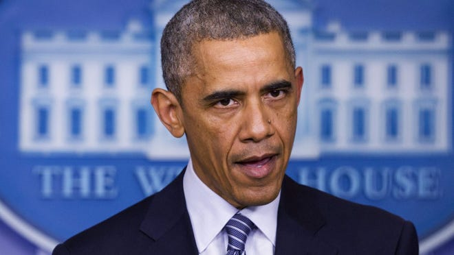 President Barack Obama speaks to the media in the briefing room of the White House Monday in Washington after the Ferguson grand jury decided not to indict police officer Darren Wilson in the shooting death of Michael Brown.