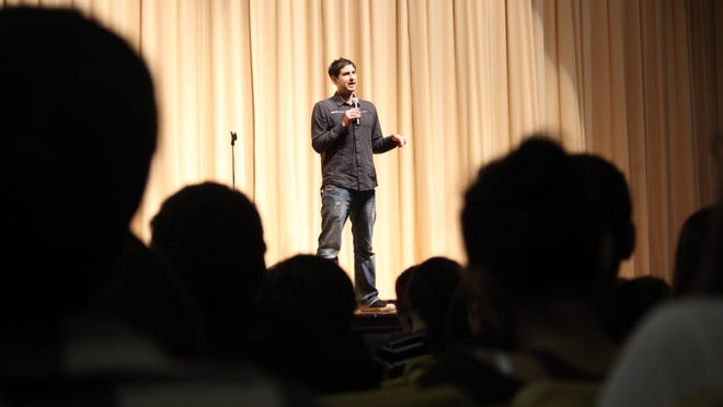Matt de la Peña, author of critically-acclaimed young adult novels and award winning picture books, visited with Washington Junior High students April 9. School officials reached out to de la Peña's after several students said they found his books inspiring.