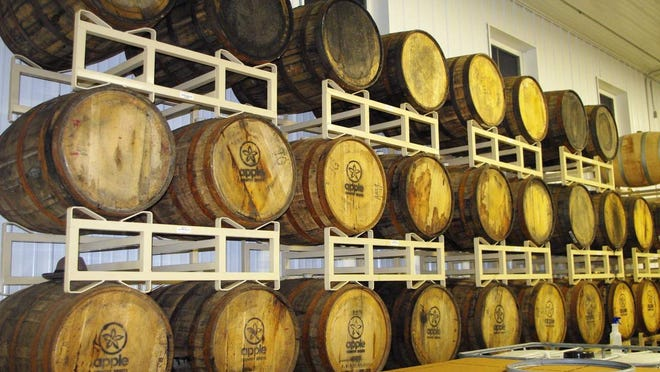 Barrels of Apple Jack aging in the store room. (Photo: M. Rosenberry)