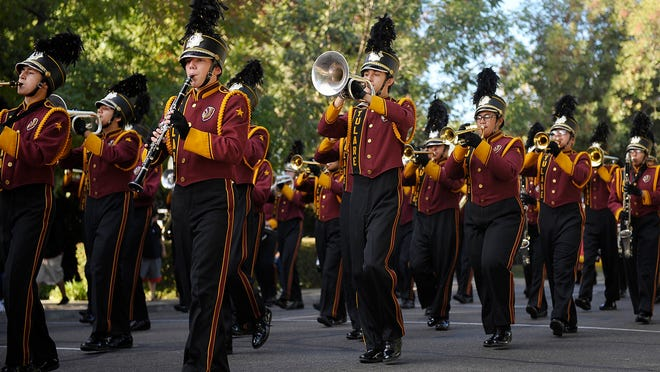 Visalia and Tulare high school and middle schools competed in the annual band review competition in downtown Visalia on Saturday, October 25, 2014.
