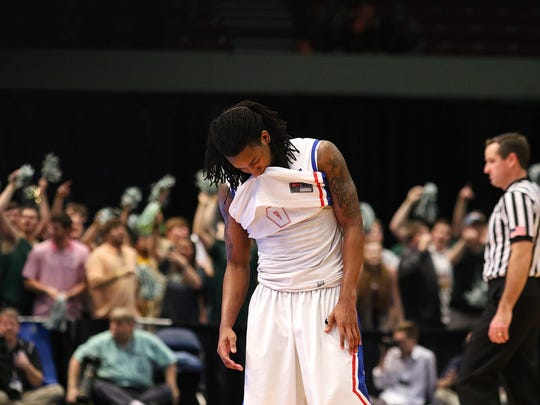 Former Louisiana Tech guard Speedy Smith puts his head down in last year's loss to UAB in the Conference USA Tournament semifinals. The Bulldogs' 16-point rally fell short in overtime.