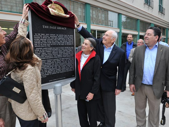 Members of the Zale family and Zales company unveiled the official Texas historical marker placed in front of the Wichita Falls downtown Zales building located at the intersection of Eighth at Ohio Street Thursday morning. Over the past 3 years, the exterior has been painstakingly restored in accordance with Wichita Falls Landmark Commission guidelines, according to a release. Zales, now a nationwide jewelry company, began at this location in Wichita Falls in 1924