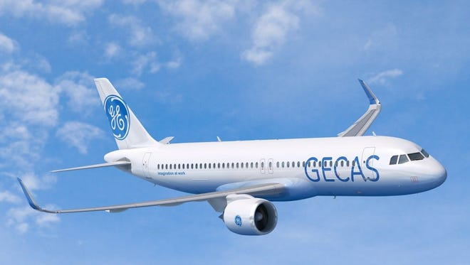 This image provided by Airbus shows an A320neo jet in the colors of GE Capital Aviation Services, an aircraft leasing unit.