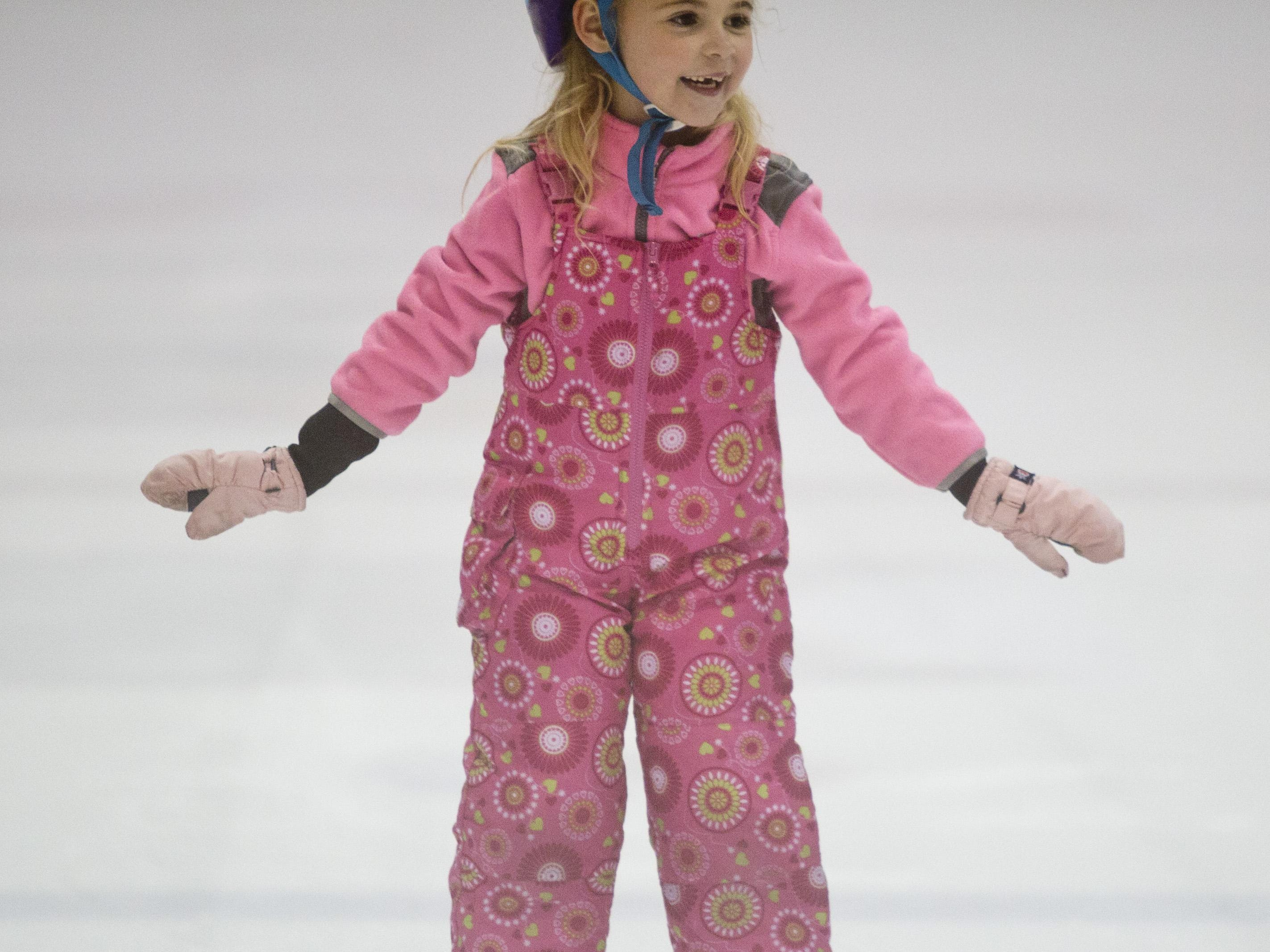 Tori Stein, 6, of Port Huron, skates during a learn to skate program Wednesday, October 7, 2015 at McMorran Arena.