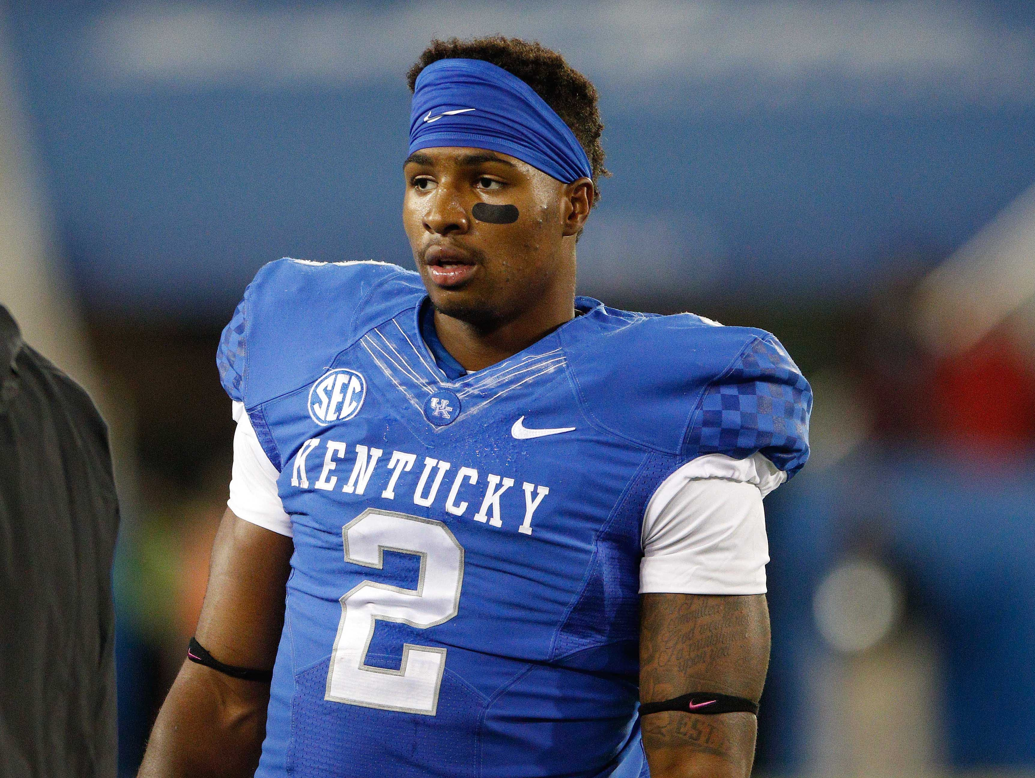 Oct 3, 2015; Lexington, KY, USA; Kentucky Wildcats wide receiver Dorian Baker (2) looks on during the game against the Eastern Kentucky Colonels at Commonwealth Stadium. Kentucky defeated Eastern Kentucky 34-27 in overtime.