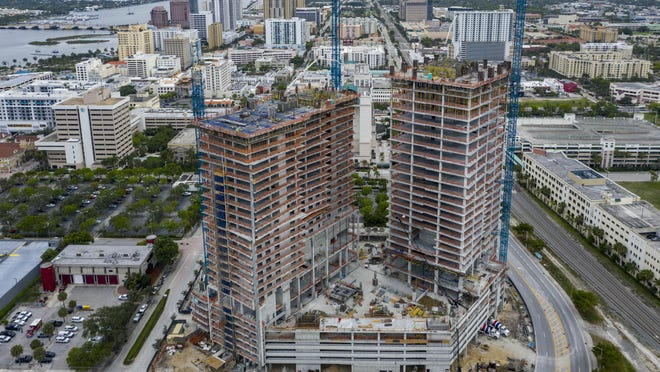 The twin-tower complex  on 550 Quadrille Blvd. in West Palm Beach, Florida on April 19, 2020. Developer Jeff Greene is threatening to leave project unfinished.