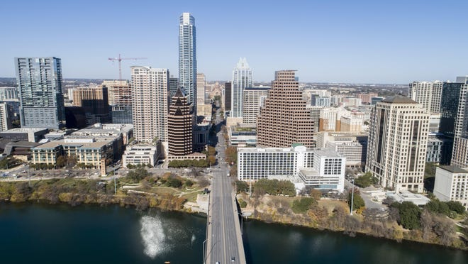 The Austin skyline can be seen from South Congress Avenue in January.