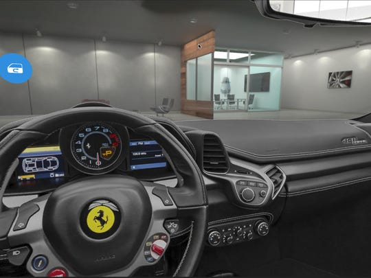 A view from inside a Ferrari using a virtual-reality app from Evox Productions.