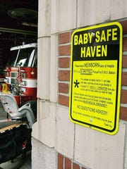 This Baby Safe Haven sign was posted on a fire station