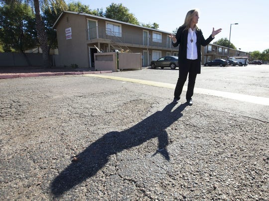 Former Phoenix vice mayor Peggy Bilstein visits the apartment complex where a girl was kept in a dog crate and forced to work as a prostitute.