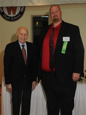 Sheboygan South High School principal Michael Trimberger - seen here with Herb Kohl - was honored with a 2016 Leadership Award. Recipients of the new Leadership Award are school principals recognized for setting high standards for instruction, achievement and character and for creating a climate to best serve students, families, staff and community.