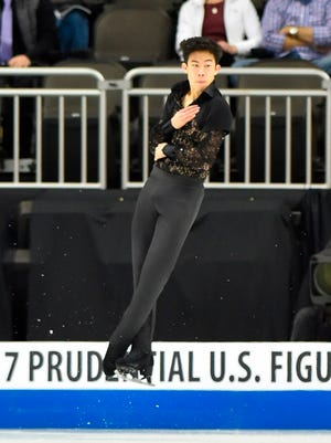 Nathan Chen skates on Day 2 of the 2017 U.S. Figure Skating Championships.