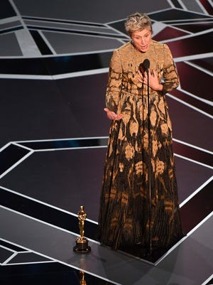 Frances McDormand at the Oscars, Hollywood, Calif., March 4, 2018.