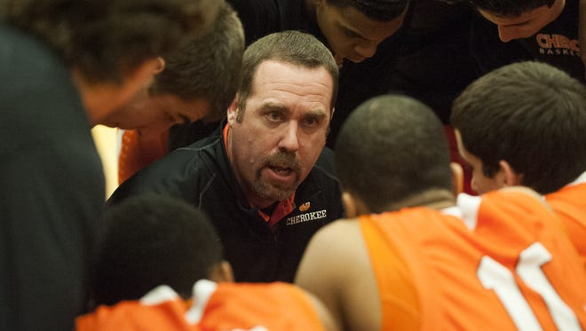 Matt Shultz talks to his players during a January game. The Cherokee coach is leaving the program after five years.