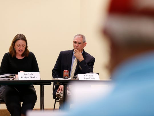 The Community Task Force on Facilities is co-chaired by Bridget Dierks, left, and David Hall.