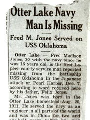 A local news clipping mentions the death of Fred Jones.