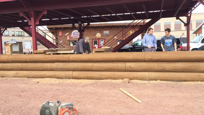 The new Point Craft River, an interactive fan feature at Witter Field, as seen from the playing field.